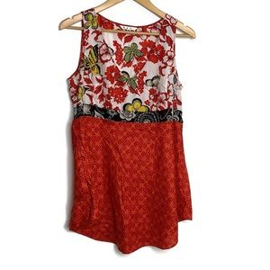 Anthropologie Cabi Red Silk Butterfly V Neck Tunic